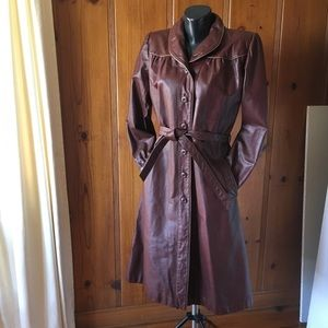 80's Vintage Wilson's Leather Trench Coat merlot